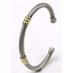 Classic David Yurman Sterling Cable Cuff with 14 karat Gold Double Stations