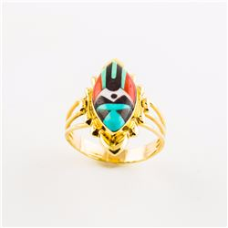 "14K ""Zuni ""  Multi-Stone Inlaid Ring"