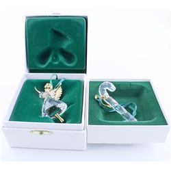 2 - SWAROVSKI Crystal Christmas Ornaments, Candy Cane and Angel