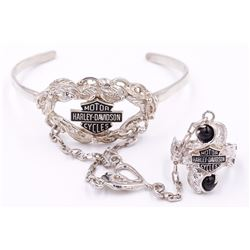 Sterling Silver Harley Davidson Cuff Bracelet with Attached Decorative Chain & Ring