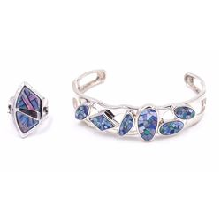Sterling Silver Cuff & Ring with Inlaid Mosaic Created Opal