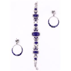 Sterling Silver Lapis Bracelet & Inlaid Earrings