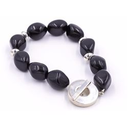 Sterling Silver Black Onyx or Jet Large Bead Bracelet by Rage