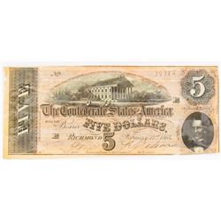 CSA Note Feb 17, 1864 $5.00 Note Type 69/559 Plate: E