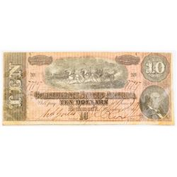 CSA Note Feb 17, 1864 $10.00 Note Type 68/549 Plate: C