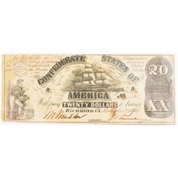 CSA Note Sept 2, 1861 $20.00 Note Type 18/132 Plate: A24
