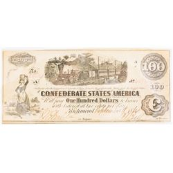 CSA Note Sept 18, 1862 $100.00 Note Type 40/298 Plate: AC