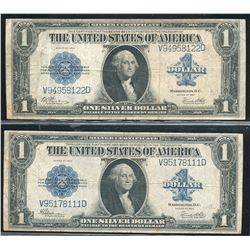 Pair (2) of 1923 - $1.00 Large Size Silver Certificates