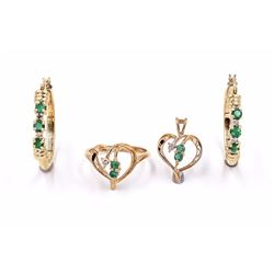10K Natural Emerald Ring, Pendant & Earring Jewelry Set