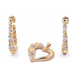 14K Diamond Heart Pendant & 14K Twisted Hoop Diamond Earrings