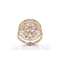 14K Filigree Ring with Diamond Accents