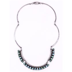 """Southwestern Sterling Silver 16"""" Turquoise Necklace"""