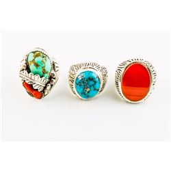 Lot of Mens Sterling Silver Turquoise, Coral and Turquoise and Carnelian Men's Ring Trio.