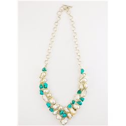 Sterling Silver Pearl and Turquoise Necklace