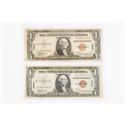 """Lot of (2) 1935-A $1.00 Silver Certificate """"Hawaii Overprint"""" Notes"""
