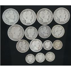 Lot of (15) Barber Coins 1892 to 1916 - 5 of each - Dimes, Quarters & Halves