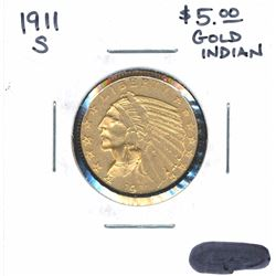 1911-S - $5.00 Gold Indian Coin
