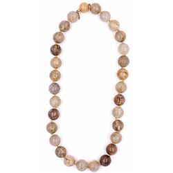 """Knotted 18"""" Strand Of Rutilated Quartz Beads with 14k Gold Clasp"""