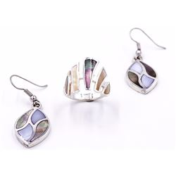 Sterling Silver Mother Of Pearl Ring & Earrings