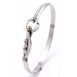 Sterling Silver Cuff with 14k Gold Accents stamped Sonya