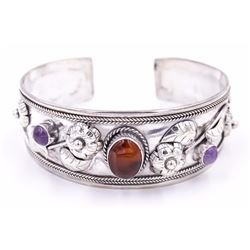 Sterling Silver  Cuff with Amber & Amethyst Cabochons