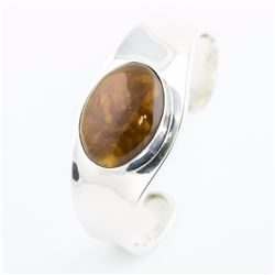 Sterling Silver Cuff with Bezel Set Agate
