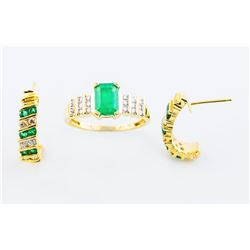 14K Natural Emerald & Diamond Half Hoop  Earrings and a matching Ring