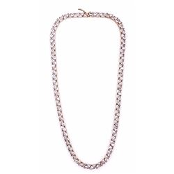 Sterling Silver Trillion Cut CZ Necklace with Rose Gold Vermeil Overlay