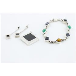 Sterling Silver Jewelry Suite - Multi Semi-Precious Stone Bracelet, Pendant, and Earrings