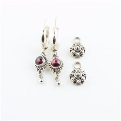 Sterling Silver Hoop Earrings With Interchangeable Garnet & Sterling Charms