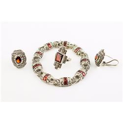 Sterling Silver Garnet and Marcasite Bracelet, Ring and Earrings Grouping