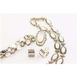 Sterling Silver MOP & Marcasite Jewelry Set