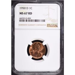 1950-D LINCOLN CENT, NGC MS-67 RED