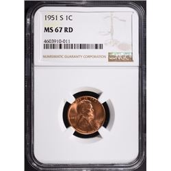 1951-S LINCOLN CENT, NGC MS-67 RED