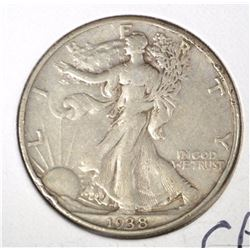 1938-D WALKING LIBERTY HALF DOLLAR, XF NICE