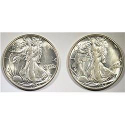 1942-D & 1944 WALKING LIBERTY HALVES, CH BU