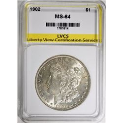 1902 MORGAN DOLLAR, LVCS CH/GEM BU