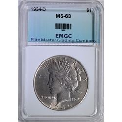 1934-D PEACE DOLLAR EMGC CHOICE BU