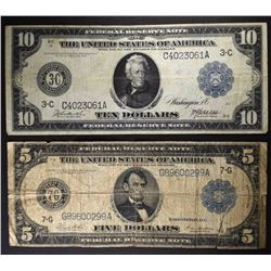 FRN 1914: $5 Has Tear & $10 VERY FINE