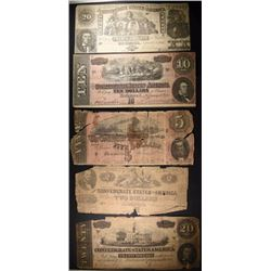 CONFEDERATE NOTES CIRC; 1864 $2, 1864 $5, 1864 $10