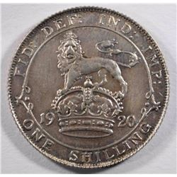1920 Great Britain Shilling, AU, 50% Silver,