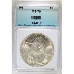 1986  AMERICAN SILVER EAGLE EMGC PERFECT GEM BU