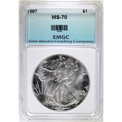 1987 AMERICAN SILVER EAGLE, EMGC PERFECT GEM BU