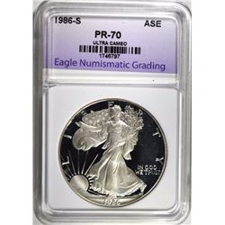 1986-S SILVER EAGLE, ENG PERFECT GEM PROOF