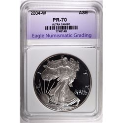 2004-W SILVER EAGLE, ENG PERFECT GEM PROOF