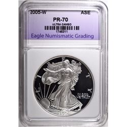 2005-W SILVER EAGLE, ENG PERFECT GEM PROOF