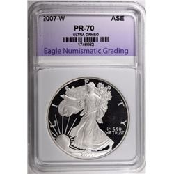 2007-W SILVER EAGLE, ENG PERFECT GEM PROOF