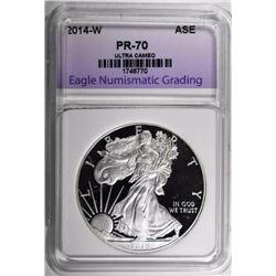 2014-W SILVER EAGLE, ENG PERFECT GEM PROOF