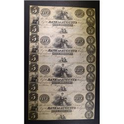 UNCUT SHEET OF 4 BANK OF AUGUSTA $5.00 NOTES