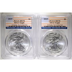 2-2015 SILVER EAGLES, PCGS MS-70